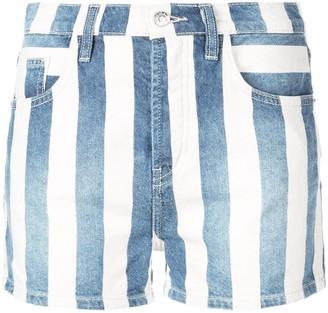 Current/Elliott Striped Denim Shorts