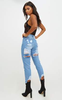 PrettyLittleThing Mid Wash Extreme Back Distressed Rip Straight Leg Jean