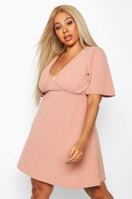 boohoo Plus Angel Sleeve Ruched Detail Swing Dress