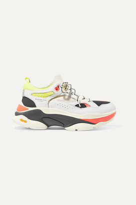 Brandblack Saga Mesh-paneled Leather Sneakers - White