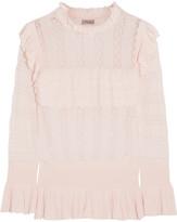 Temperley London Cypre Ruffled Pointelle-knit Sweater - Cream