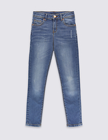 Marks and Spencer Cotton High Waisted Distressed Skinny Jeans with Stretch (3-14 Years)