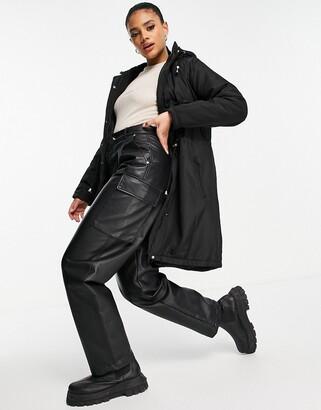 Brave Soul Egypt parka coat with hood in black