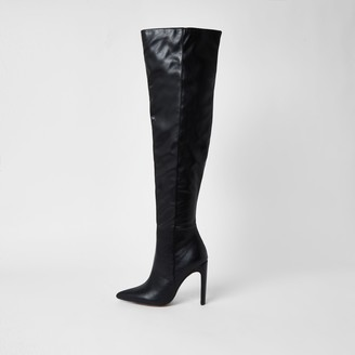 River Island Womens Black faux leather pull on high leg boots