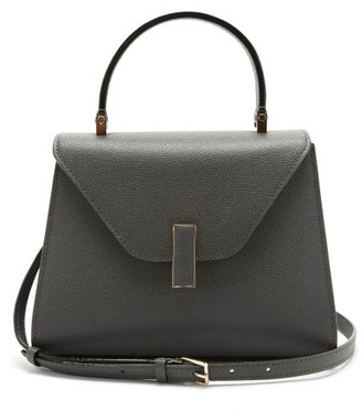 Valextra Iside Mini Grained-leather Bag - Grey