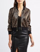 Charlotte Russe Leopard Micro Pleated Bomber Jacket