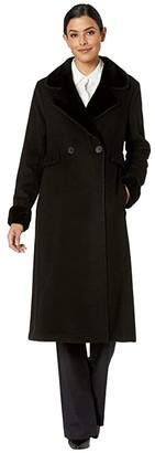 Lauren Ralph Lauren Two-Button Maxi Wool (Black) Women's Coat