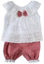 Norbi Kids Girls Bow Laye Hollow Out Tops Bloomers Lattice Shorts Set