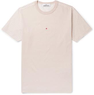 Stone Island Logo-Print Striped Cotton-Jersey T-Shirt