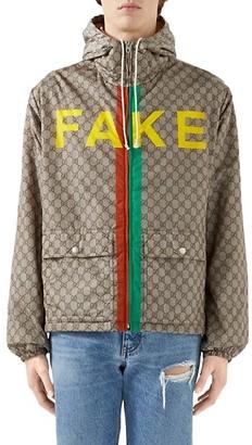 Gucci Fake/Not Print Nylon Jacket