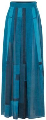 Akris Window-Print Pleated Voile Maxi Skirt
