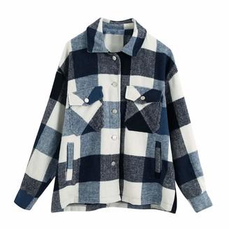 CUTUDU Womens Plaid Jacket Coat Shacket Oversize Baggy Shirt Ladies Fashion Casual Pockets Printed Long Sleeve Tops (Pink 3XL)