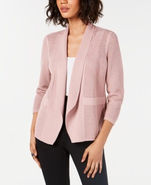 Alfani Open-Knit Linen-Blend Cardigan, Created for Macy's