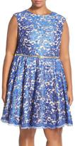 Eliza J Belted Print Lace Fit & Flare Dress (Plus Size)