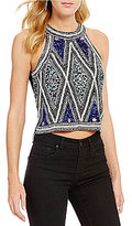 Chelsea & Violet Jazzy Sleeveless Printed Crop Blouse