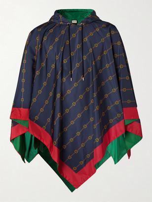 Gucci Reversible Logo-Print Nylon Hooded Poncho