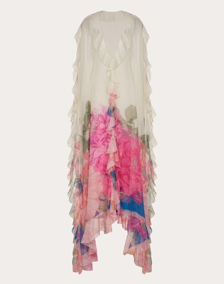 Valentino Printed Chiffon Evening Dress Women Ivory Silk 100% 38