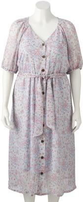 Lauren Conrad Plus Size Button Front Shirtdress