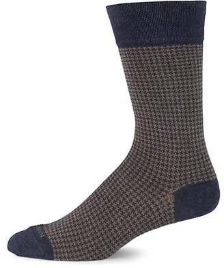 Marcoliani Milano Houndstooth Cotton-Blend Socks