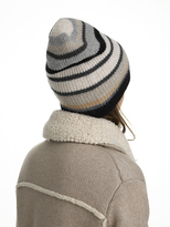 White + Warren Cashmere Striped Plush Rib Beanie