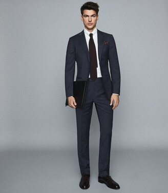 Reiss Grit - Wool Blend Slim Fit Blazer in Navy