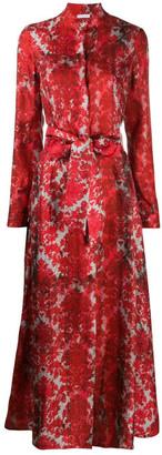 813 Floral Print Silk Shirt Dress