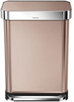 Simplehuman 55L Liner Rim Rectangular Step Can in Rose Gold with Bonus 60 Pack Liners