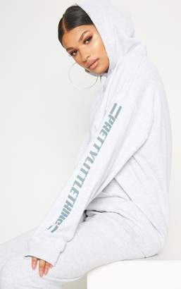 PrettyLittleThing Grey Logo Stripe Oversized Hoodie