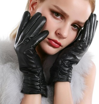 VEMOLLA Autumn Winter Warm Short Real Leather Sheepskin Gloves Fleece Lining For Women Black Xxl