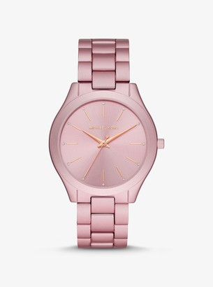 Michael Kors Oversized Slim Runway Pink-Tone Aluminum Watch