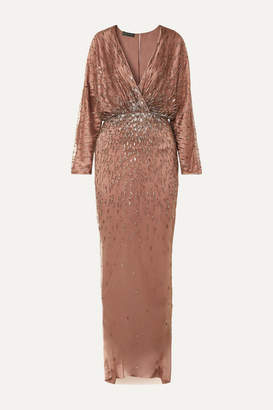 Monique Lhuillier Wrap-effect Draped Embellished Tulle And Silk-satin Gown - Blush