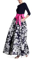 Eliza J 3/4 Length Sleeve Ball Skirt Gown