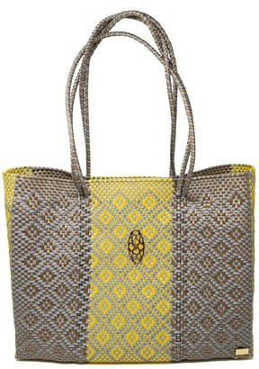Lolas Bag Gray/Yellow Travel Tote With Clutch