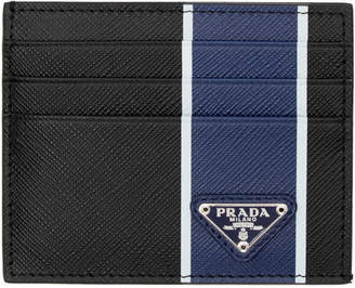 Prada Black and Blue Colorblocked Card Holder