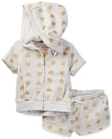Juicy Couture Foil Heart Print Hoodie & Short Set (Little Girls)