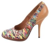 Dries Van Noten Leather-Trimmed Abstract Pumps