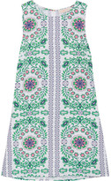 Tory Burch Garden Party Printed Linen-blend Mini Dress - Green