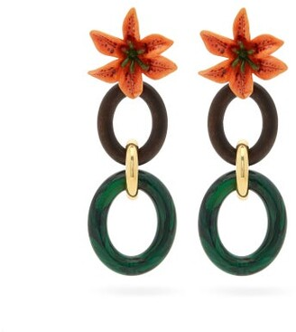 Dolce & Gabbana Floral Drop Clip Earrings - Multi
