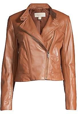 MICHAEL Michael Kors Women's Cropped Leather Jacket