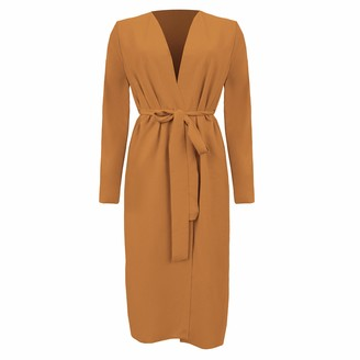 Mollie New UK Womens Ladies Maxi Long Sleeve Ruched Back Belted Duster Jacket Coat S/M-XXL (Camel S/M)