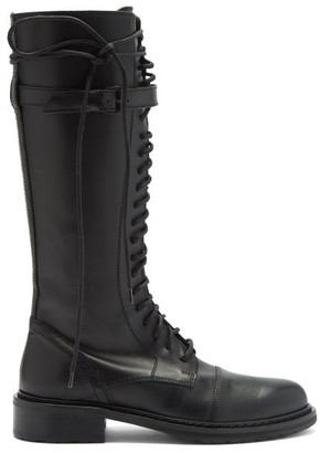 Ann Demeulemeester Lace-up Knee-high Leather Boots - Black