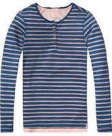 Scotch & Soda Double Layer Grandad T-Shirt | Long Sleeve