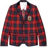 Gucci Tartan wool jacket with crest appliqué