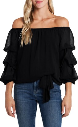 CeCe Off the Shoulder Tiered Sleeve Blouse