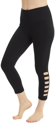 Velocity Women's Active Pants BLACK - Black High-Waist Ladder-Cutout Capri Leggings - Women