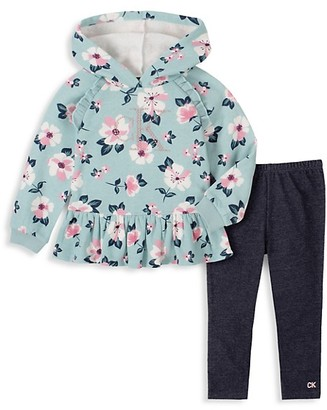 Calvin Klein Little Girl's Floral Hoodie Pants 2-Piece Set