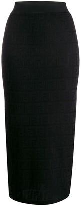 Fendi FF motif knitted pencil skirt
