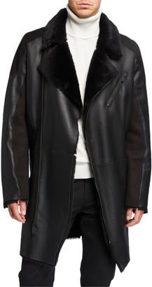 Karl Lagerfeld Paris Men's Shearling Asymmetrical Long Jacket