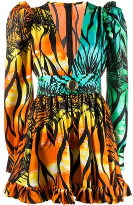 Fausto Puglisi Tropical-Print Gigot-Sleeved Mini Dress