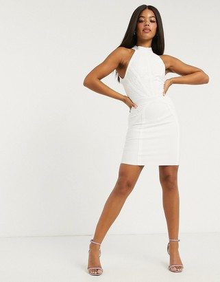 Lipsy lace halterneck dress in white